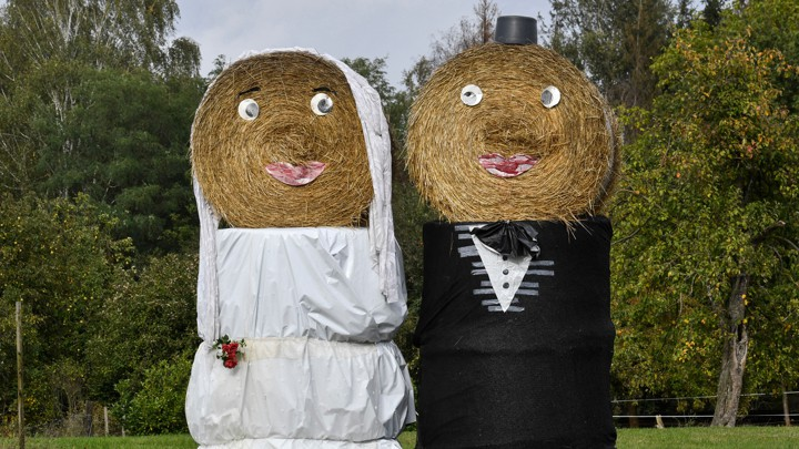 Bales of hay dressed up to look like a bride and groom