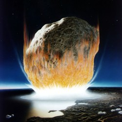 An artist's depiction of the K-T impact, which wiped out all nonavian dinosaurs.