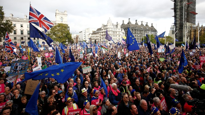 Anti-Brexit demonstrators attend a rally in central London.