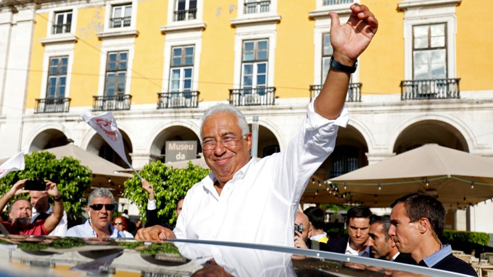 Portugal's incumbent Prime Minister António Costa greets supporters in Lisbon.