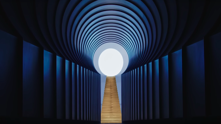 "An image from the James Turrell crater in Kanye West's ""Jesus Is King"""