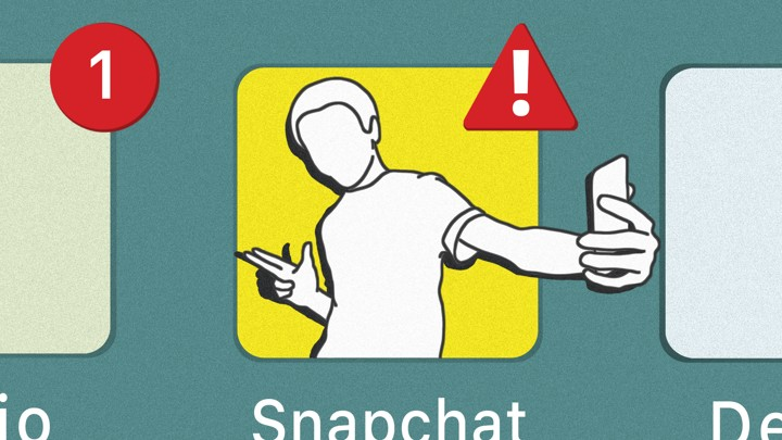 An illustration of a Snapchat logo with a figure taking a selfie