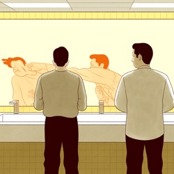 An illustration of two men in the bathroom looking in the mirror. The reflected image shows the man on the right punching the man on the left.