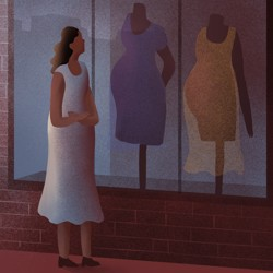 An illustration of a woman walking past a maternity store.