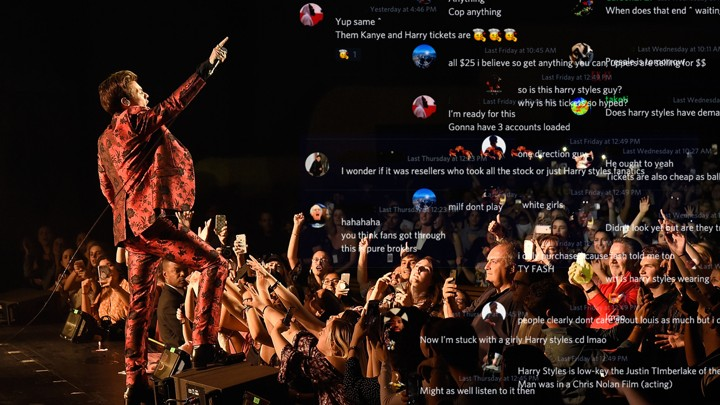 A photo of Harry Styles performing in concert, overlaid with screenshots from a Discord channel.