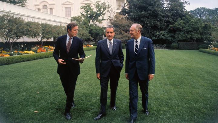 Richard Nixon with staff
