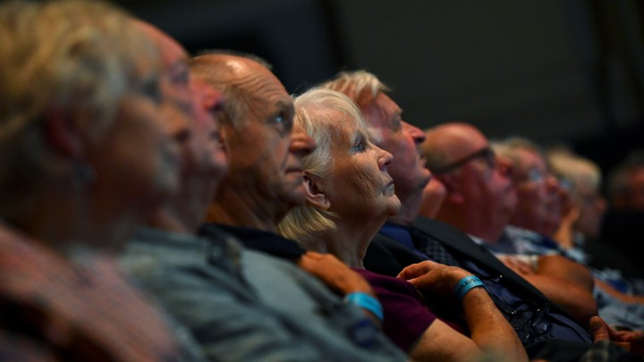 Older voters listen to Boris Johnson speak in June 2019.