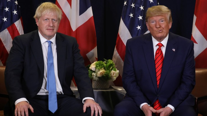 Boris Johnson and Donald Trump hold a bilateral meeting.