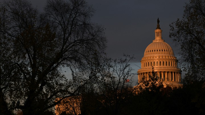 The U.S. Capitol building at sunset