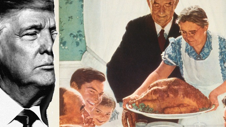 """A collage of Trump and Norman Rockwell's """"Freedom From Want"""""""