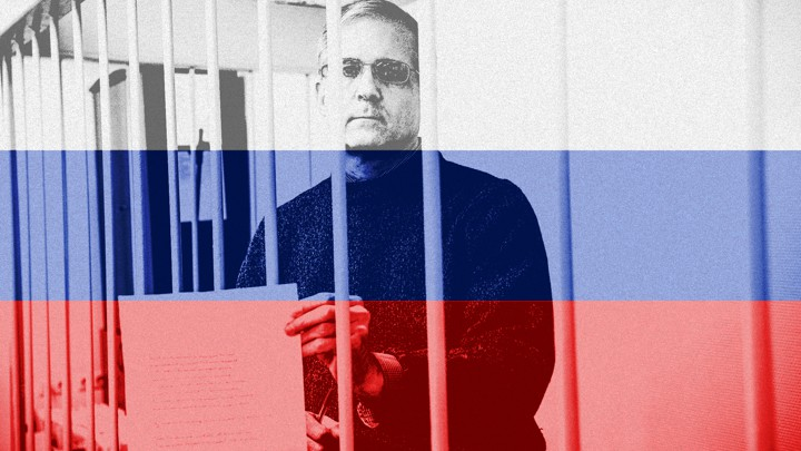 Art of American political prisoner Paul Whelan, who has been imprisoned in Russia for nearly a year. A Russian flag filter is set over a photo of him during a court appearance.