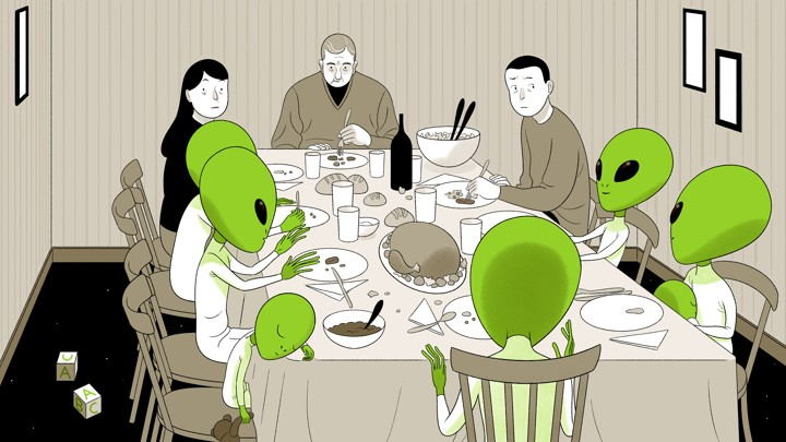 An illustration of a family dinner with some extraterrestrial guests.