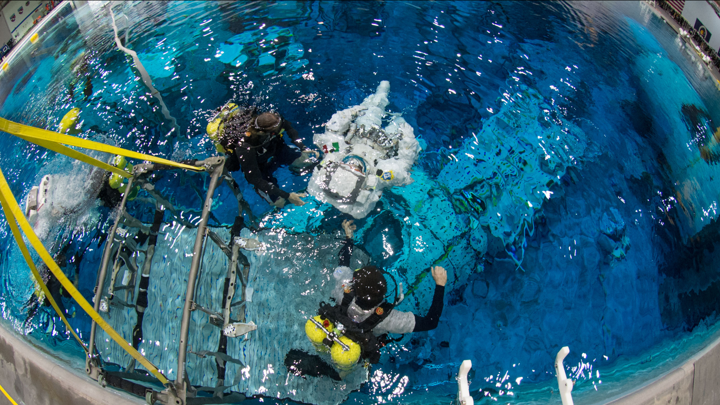 An astronaut in the pool at NASA's Neutral Buoyancy Lab