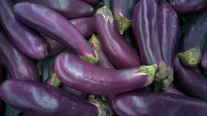 A pile of eggplants