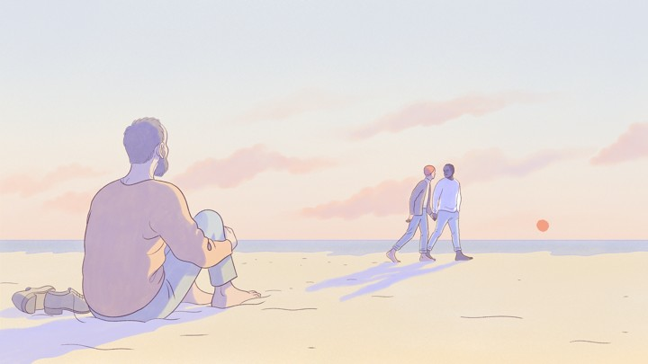An illustration of a man wistfully looking at a gay couple in the distance.