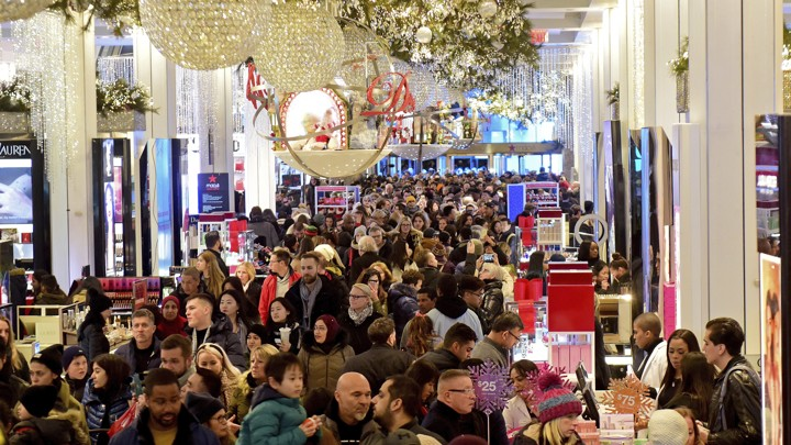 People shopping at Macy's during Black Friday