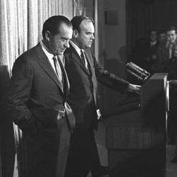 Former President Richard Nixon and former domestic-affairs adviser John D. Ehrlichman