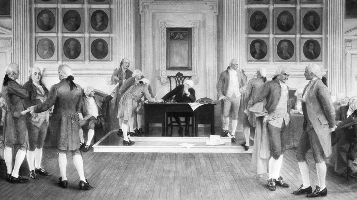 """The Signing of the American Constitution,"" by Albert Herter, a mural in the Wisconsin state capitol"