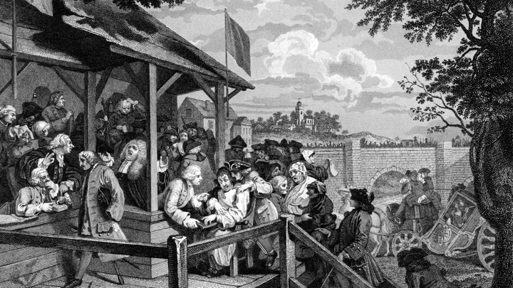 Illustration of voting in early America