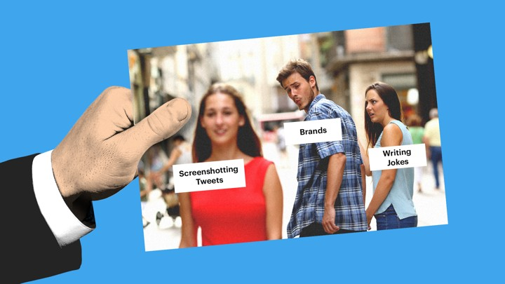 "A variation on the ""distracted boyfriend"" meme"