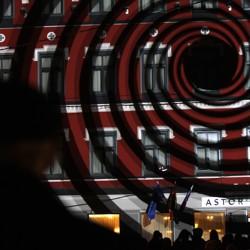A light show creates the optical illusion of a vortex in Riga, Latvia, in 2014.