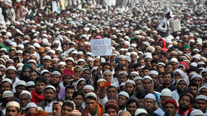 Protesters at a rally in Kolkata