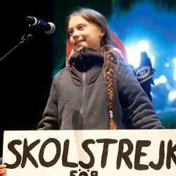 Climate change activist Greta Thunberg delivers a speech at a climate change protest march, as COP25 climate summit is held in Madrid, Spain, December 6, 2019.