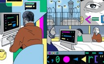 Illustration of formerly incarcerated coders working at computers