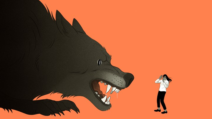 An illustration of a giant wolf with a woman cowering in fear in front of it.