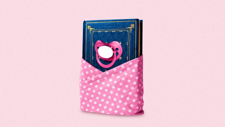 A book wrapped in a baby blanket, with a pacifier