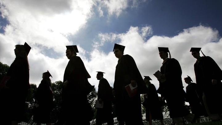 Graduating class in line