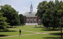 Students walk across the quad at Johns Hopkins University in Maryland.