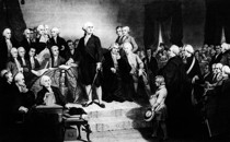 President George Washington delivers his inaugural address in the Senate Chamber of Old Federal Hall in New York on April 30, 1789.