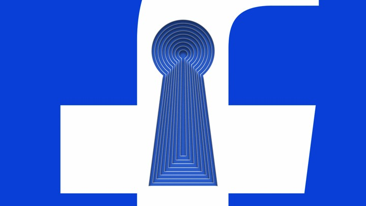 The Facebook 'f' logo with layered keyholes
