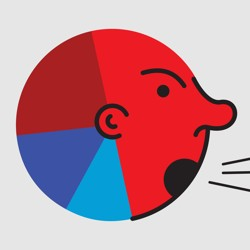 An illustration of a pie chart with an angry face.