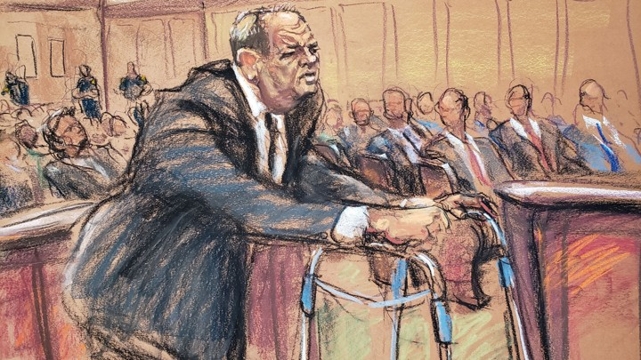 Drawing of Harvey Weinstein in court.