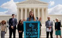 Kelsey Juliana, a lead plaintiff in the climate-change case, speaks outside the U.S. Supreme Court.