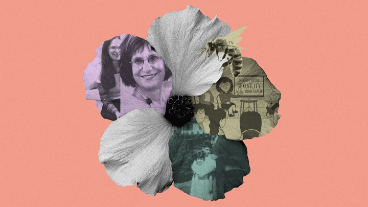A collage of flower petals, photos of Deborah Roffman, and a sex education cartoon