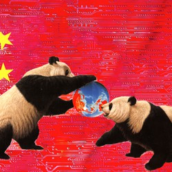 An image of two pandas fighting over a globe is superimposed onto a Chinese flag.