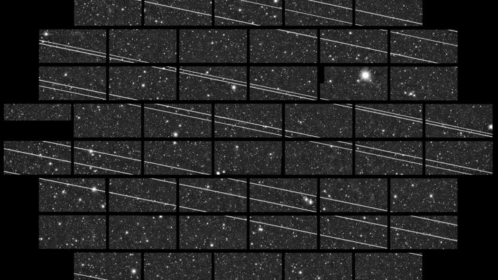 Starlink satellites streak through images captured by a telescope in Chile.