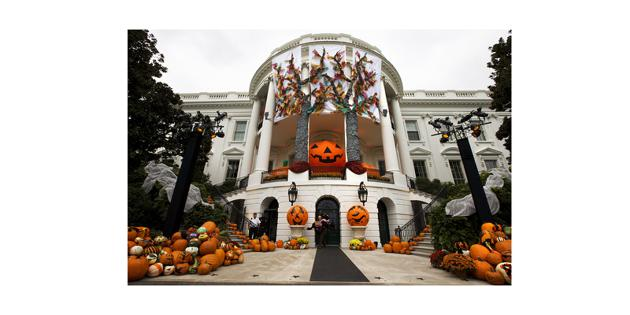 Outside of white house decorated for halloween