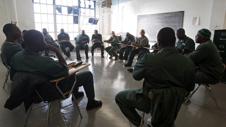 inmates participate in a meeting at clinton correctional facility in dannemora new york mike grollap