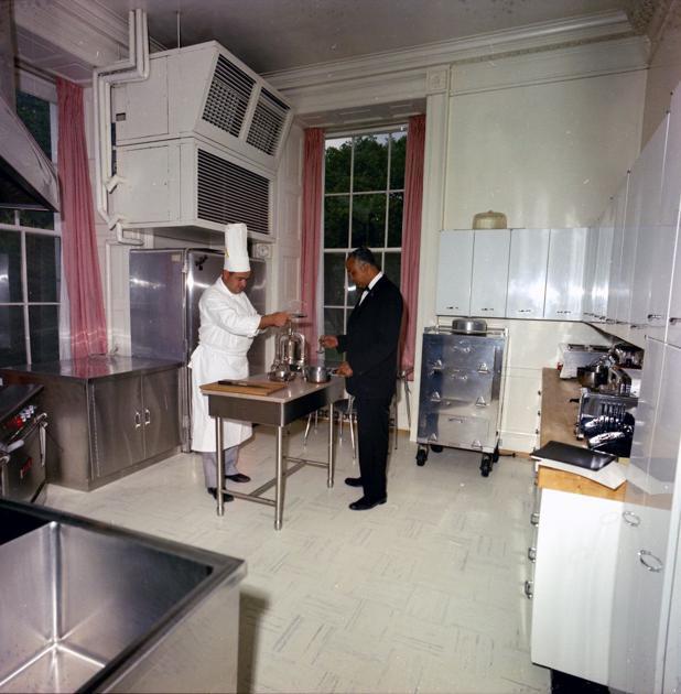 (National Journal) White House Chef, René Verdon (left), And Maître  Du0027Hotel, Charles E. Ficklin, Work In The Family Kitchen.