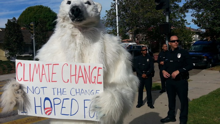 927455fc37b2 Frostpaw the Polar Bear will be part of environmental protests during  President Obama s visit to Alaska.Courtesy of the Center for Biological  Diversity