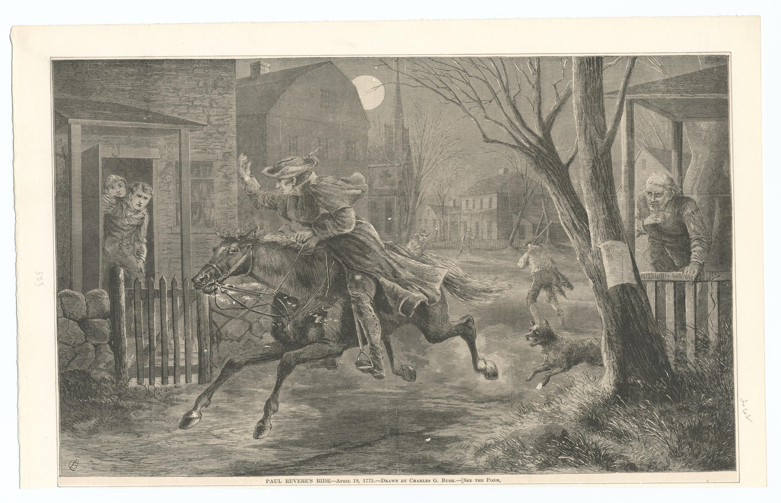 Famous Historic Art Reprint MIDNIGHT RIDE OF PAUL REVERE Revolutionary War Hero