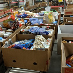 Boxes of food awaiting distribution from 'God's Storehouse' in Danville, Virginia