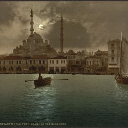 Constantinople at night, in a print from around the turn of the 20th century. The Eastern Roman Empire, based in Constantinople, endured for many centuries after the fall of the Western Empire, in Rome.