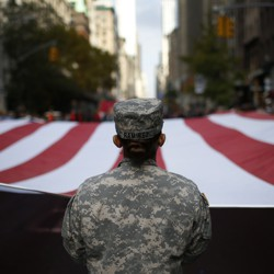 U.S. Army marched in the Veterans Day parade on November 11, 2014.
