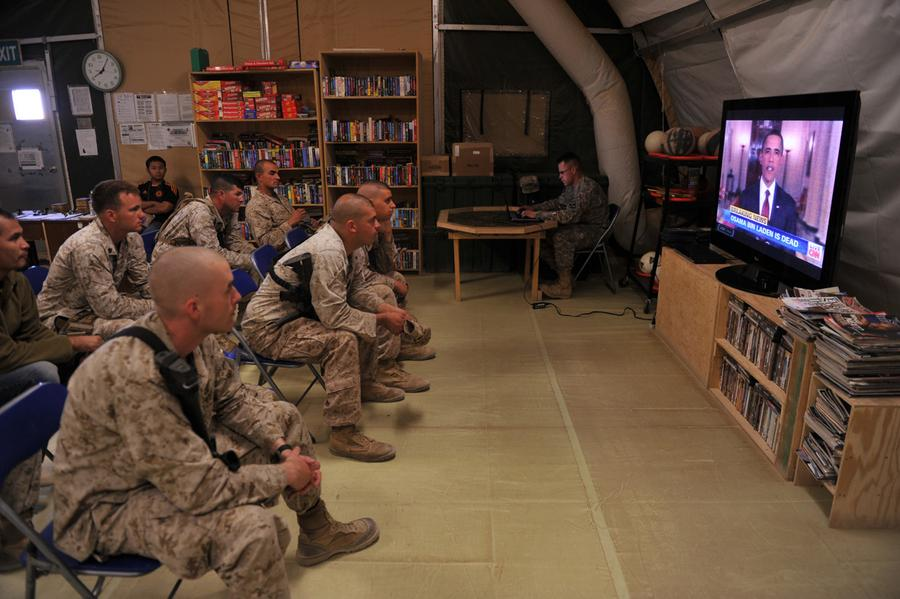 osama bin laden killed worldwide reactions the atlantic us marines of regiment combat team 1 rct 1 watch tv as president barack obama announces the death of osama bin laden at camp dwyer in helmand province
