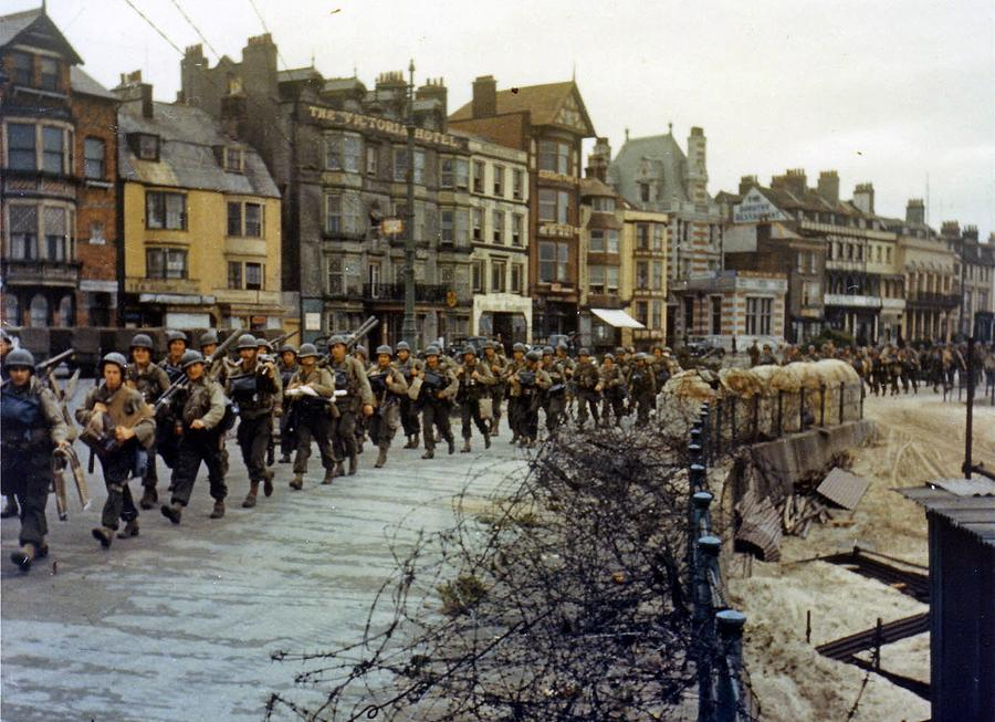Image result for world war two photos of us soldiers marching to the docks before d day